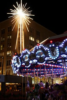 Downtown Seattle's Holiday Carousel and Star