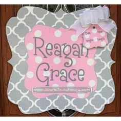 Personalized Quatrefoil Baby Sign For Hospital Door on Etsy, $45.00