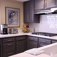 Los Angeles Brown Refinished Cabinets! Subway Tile Back Splash, Gorgeous  Grey Cabinets!