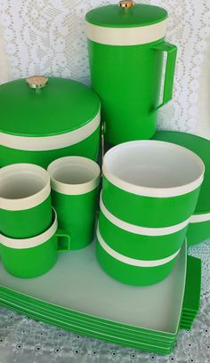 SALE 30 Pcs Vintage Olympian Therm-O-Ware Green Dinnerware