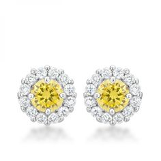 Genuine Rhodium Plated Bridal Earrings with Round Cut Yellow Cubic Zircon and Post Backing Polished into a Lustrous Silvertone Finish.  #mycustommade