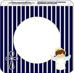 Bandeirinha Valrazinho Quadrada Batizado Menino Azul Marinho e Branco