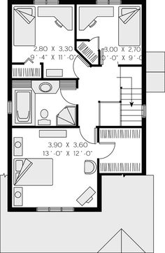 Second Floor Plan of Contemporary   House Plan 65286