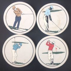 Vintage Hindostone Stone Mens Golf Theme Coasters Set 4 Golfers Golfing
