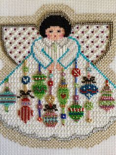 Painted Pony's ornament angel beautifully beaded and stitched by Suzanne. Needlepoint Designs, Needlepoint Stitches, Needlepoint Kits, Needlepoint Canvases, Needlework, Cross Stitch Designs, Cross Stitch Patterns, Stitch And Angel, Vbs Crafts