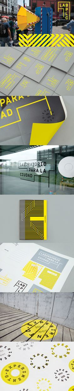Lab Ciudad identity design w/ environmental graphic design application goes against conventions/expectations Corporate Design, Brand Identity Design, Graphic Design Branding, Logo Design, Corporate Identity, Graphic Designers, Environmental Graphic Design, Environmental Graphics, Type Logo