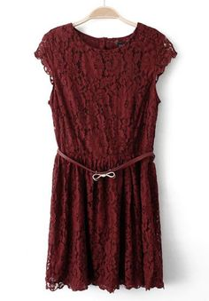 #SheInside love this burgundy color! Wine Red Short Sleeve Bow Hollow Lace Dress