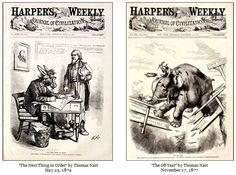 Cartazes de Thomas Nast - caricaturista e cartunista editorial, considerado o pai dos desenhos animados americanos.