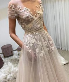 Light champagne tulle lace long prom dress, lace evening dress · of girl · Online Store Powered by Storenvy Sheath Wedding Gown, V Neck Wedding Dress, Wedding Gowns, Lace Wedding, Short Girl Wedding Dress, Ethereal Wedding Dress, Colored Wedding Dress, Fairy Wedding Dress, Wedding Shoes