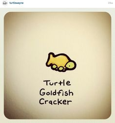 Turtle goldfish cracker - ha I love this Cute Turtle Drawings, Cute Animal Drawings, Kawaii Drawings, Cartoon Drawings, Cool Drawings, Tiny Turtle, Turtle Love, Pet Turtle, Cute Turtles