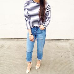 Love a (semi) casual look :) Details: Top - http://asos.do/NYMdEk Jeans- http://asos.do/YFzaAi Heels- http://asos.do/PMIBDu Watch- http://asos.do/GJfKJi