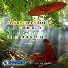 Aquel maestro que no practica los valores que predica no es un maestro. Anónimo http://selvv.com/importancia-del-liderazgo/ #Selvv