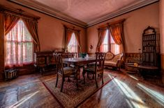 The Haunted Victorian Mansion - TrigPhotography Haunted Houses In America, Most Haunted, Table And Chairs, Valance Curtains, New England, Beautiful Places, Mansions, Building, Prints