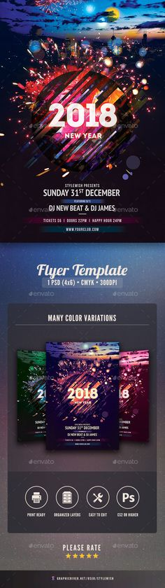 New Years Eve Free PSD Flyer Template -    freepsdflyer - new year poster template