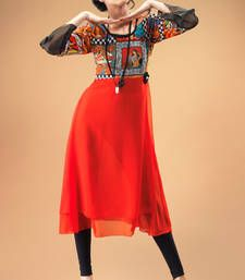 Buy Red Georgette Kurti Containing Digital Prints party-wear-kurti online