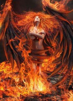 Phoenix - What is Risen by Thy-Darkest-Hour on DeviantArt Dark Fantasy Art, Fantasy Artwork, Fantasy World, Dark Art, Ange Demon, Demon Art, Arte Haida, Breathing Fire, Flame Art