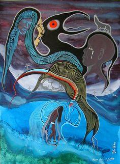 Moses Amik, Ojibwe Native American Artwork, Native American Artists, American Indian Art, Claudia Tremblay, Native Art, Native Style, Aboriginal Artists, Nativity Crafts, Indian Artist