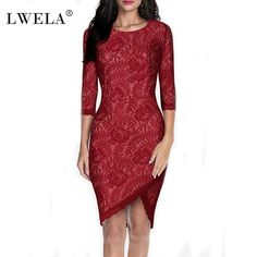 LWELA Women Lace Slim Three Quater  Sleeve Party Dress pencil Red Dresses