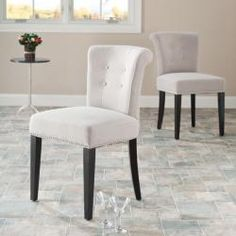 Bordeaux Beige Linen Nailhead Dining Chairs (Set of 2) | Overstock.com