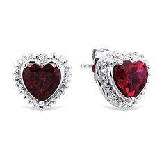 Ruby Heart Earrings in Sterling Silver