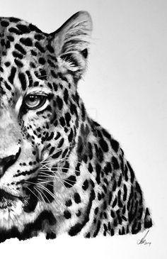 Half series-Amur Leopard by on DeviantArt Leopard Tattoos, White Tiger Tattoo, Cute Animal Drawings, Animal Sketches, Foto 3d, Amur Leopard, Cheetah, Tiger Art, Most Beautiful Animals