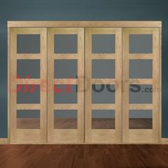 Image of Freefold Oak Shaker 4 Pane Style Folding 4 Door Set with Clear Glass