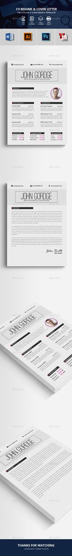 Resume Template PSD, Vector EPS, AI Illustrator, MS Word - Fully