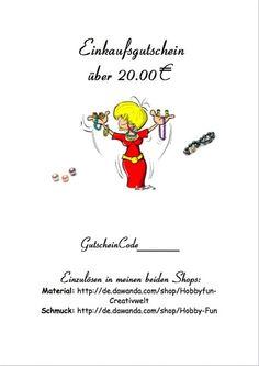Gutschein 20,00€ von Hobby-Fun/kreative Schmuckideen auf DaWanda.com