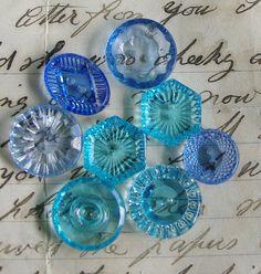 Vintage Glass Buttons Art Deco Clear Blue Glass by ButtonBroker