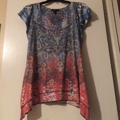 Colorful top Blue, rust and a bit of yellow with rhinestones top goes great with a pair of jeans Style & Co Tops Tees - Short Sleeve