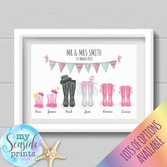 Personalised Couples Wedding Print & Wellington Boots with bridesmaids Personalised Frames, Personalized Wedding Gifts, Inspirational Quotes Wallpapers, Family Drawing, Vintage Jewelry Crafts, Family Print, Wedding Prints, Embroidery Hoops, Embroidery Jewelry