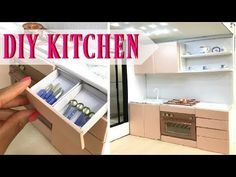 DIY miniature kitchen (doll craft) - You / Diy Doll Kitchen, Barbie Kitchen, Miniature Kitchen, Kitchen Sink, Dollhouse Miniature Tutorials, Miniature Crafts, Diy Dollhouse, Miniature Rooms, Barbie Furniture Tutorial