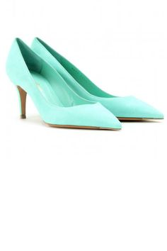 Gianvito Rossi Suede Pointy Toe Mid Heel Pumps ~ much easier to walk in than high heels ;)