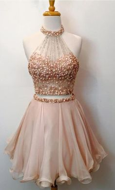 Two Piece Homecoming Dresses,Beaded Bodice Halter 2 Piece Short Prom Dresses,Sparkly Cocktail Dresses Short Prom Dress Sparkly Cocktail Dress, Sparkly Prom Dresses, Prom Dresses 2018, Prom Party Dresses, Pretty Dresses, Beautiful Dresses, Formal Dresses, Cocktail Dresses, Dress Prom