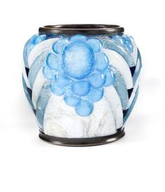 A Camille Fauré enameled metal vase manufactured by Limoges, circa 1925