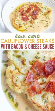 These cauliflower steaks with bacon & cheese sauce will knock your socks off! The sauce is amazing and can be used on so many other dishes. You'll love it! #lowcarb #keto #cauliflower #sidedish #bacon #cheese #recipe