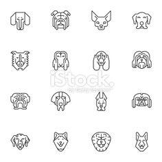 Dogs Head Icons | set 1 - Light