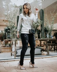 Esse foi o primeiro look com tendência metalizada  fun jeans  @fhits #QgFhits #casadevidrofhits @lucaspinhel