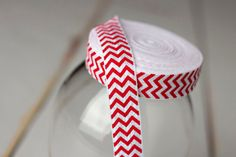 Etsy--Chevron Elastic - 5/8  Red and White Chevron FOE - Fold Over Elastic - White and Red Chevron - 5 Yards - Valentines Day