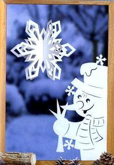 Объемная СНЕЖИНКА и СНЕГОВИК - Украшение на окна, для комнаты, класса, зала, офиса из бумаги к Рождеству, Новому году