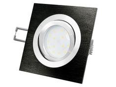 QF-2 LED-Einbauleuchte Alu schwarz schwenkbar flach incl. LED-Modul 230V, 5W, warm weiß 2700K