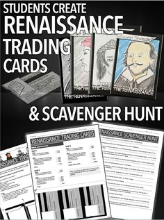 This trading card project gives students an opportunity to research the contributions of key artists, architects and writers of the Renaissance. Trading card templates, directions, rubric/checklist, teacher's instructions and edible scavenger hunt is included. This fun and engaging project is a wonderful opportunity to introduce and/or reinforce key figures of the renaissance and their works. Students construct three trading cards and then explore each other's cards to complete a scavenge…