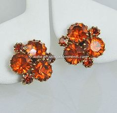 Vintage Unsigned Amber Rhinestone Earrings by AmazingAdornments, $27.99