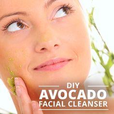 DIY Avocado Facial Cleanser cleanses and moisturizes- makes your skin really soft! #diybeauty #diymoisturizing #diycleanser