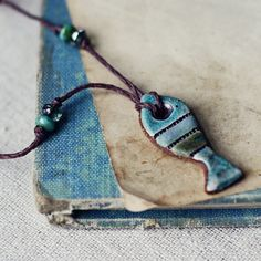 Striped Fish simple handmade ceramic necklace by kylieparry, $20.00