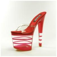 Women's Clear and Red Platform High Heel Sandal Shoes - Size 6