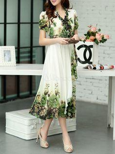 Gola v na moda vestido estampado Floral Maxi para mulher-No.2