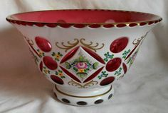 9  Vintage Czech Bohemian White Overlay Cut to Cranberry Hand Painted Gilt Bowl