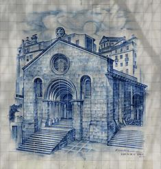 Igreja de Sao Tiago Azulejos in Coimbra. The simple Romanesque church is located in Praca do Comercio in the city centre