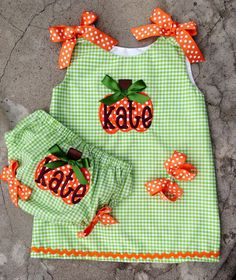 Baby Pumpkin Outfit Monogrammed Dress And Diaper by SewChristi, $59.00